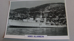 1945 HMS Alamein Destroyer warship framed picture